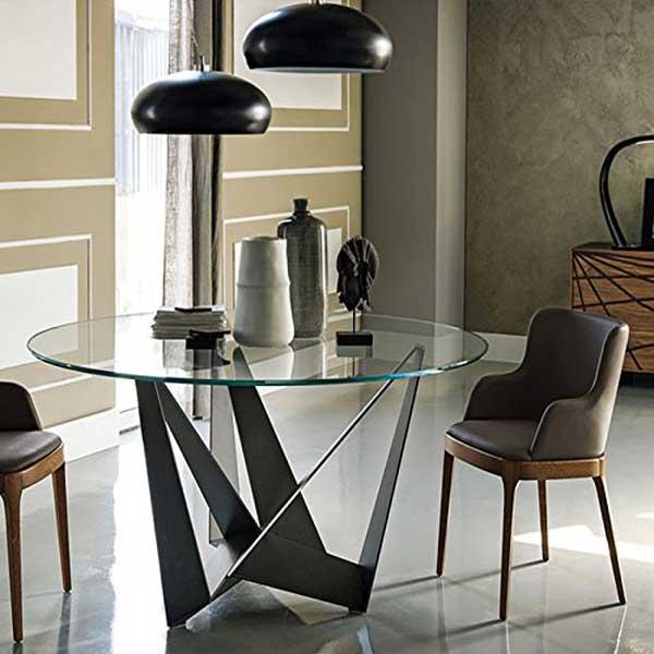 Table à manger ronde plateau verre