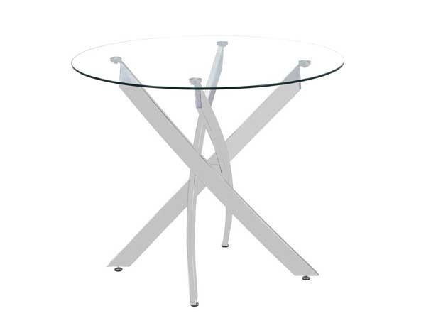 Table ronde plateau verre et pieds chromés