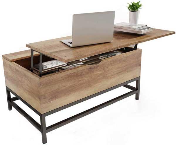 Table basse avec plateau et compartiments cachés