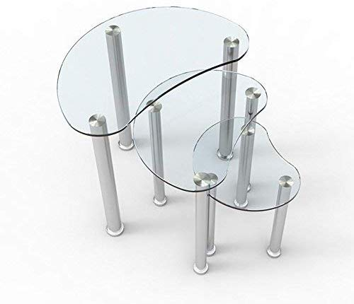 3 tables gigognes plateau en verre