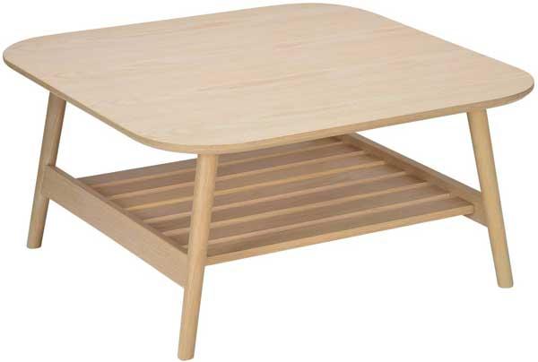 Table basse en bois de chêne avec tablette.