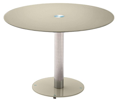 Table ronde plateau en verre laqué