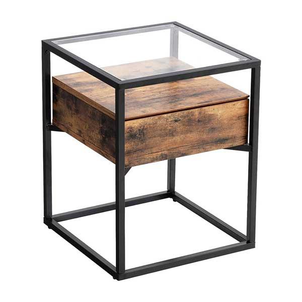Table de chevet avec plateau en verre