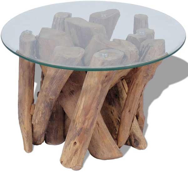 Table basse plateau verre et pieds en bois de Teck